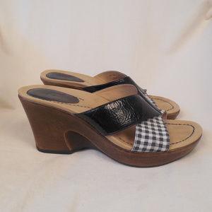 Dansko Neve Slides Heels Shoes Sandals Wedge Plaid
